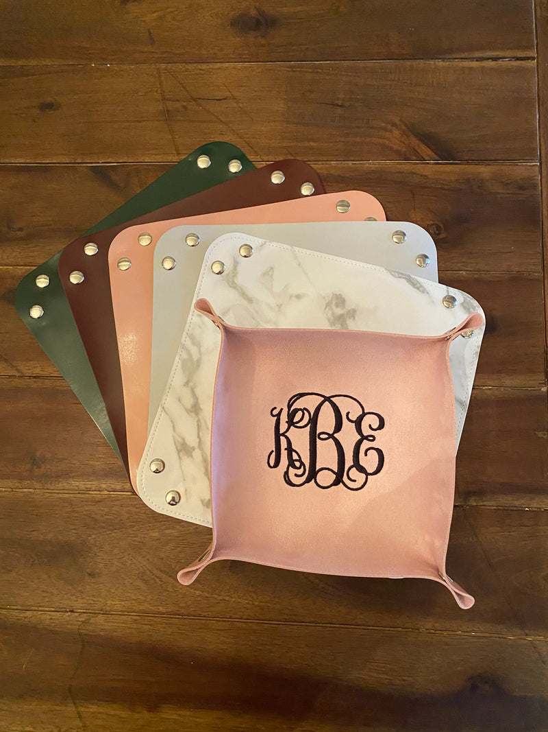 Embroidered Leather Trinket Valet Tray I Monogrammed Marble Trinket Catchall Bedside Tray I Bridesmaid Gift
