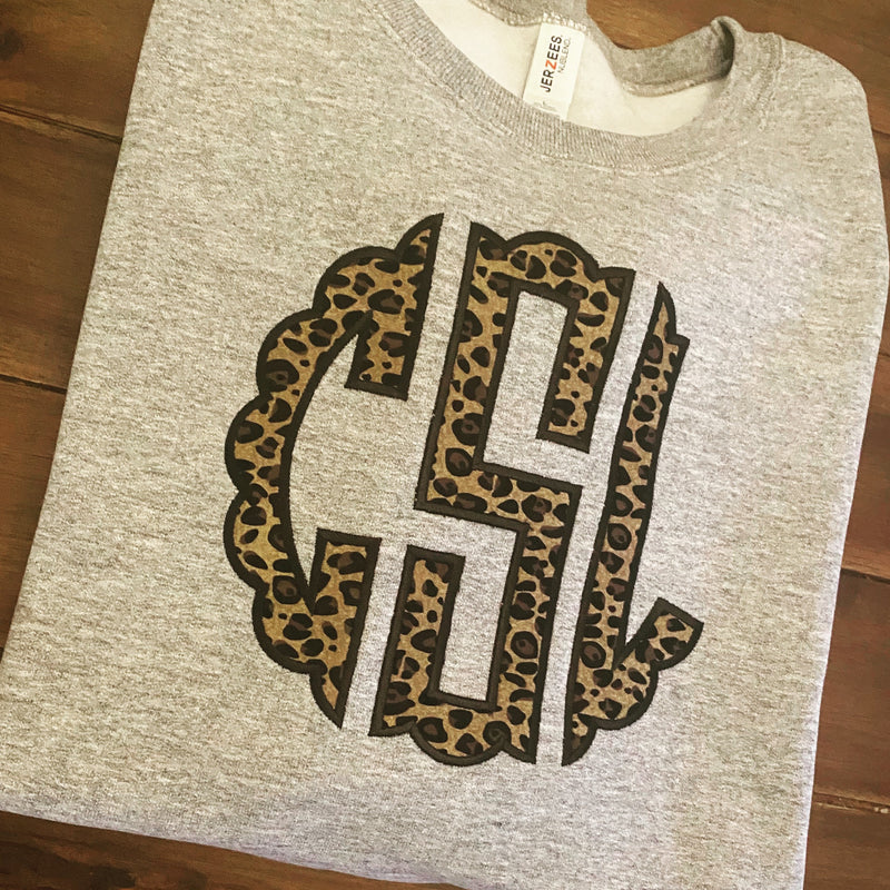 Toddler Scalloped Monogram Leopard Applique Sweatshirt