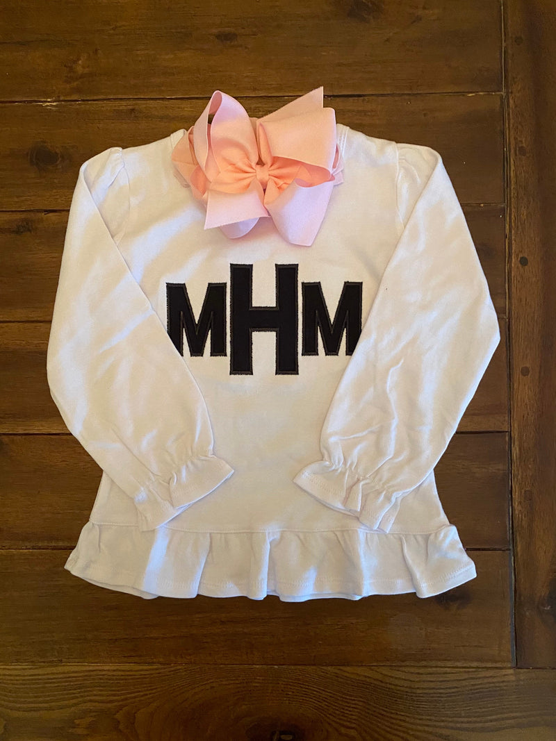 Girls Block Monogram Applique Top