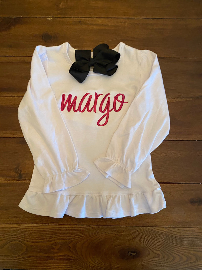 Girls Name Monogram Ruffled Top