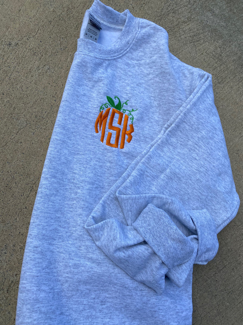 Pumpkin Monogram Embroidered Sweatshirt  | Ladies Fall Monogrammed Pumpkin Pullover | Mommy and Me Personalized Fall Sweatshirt