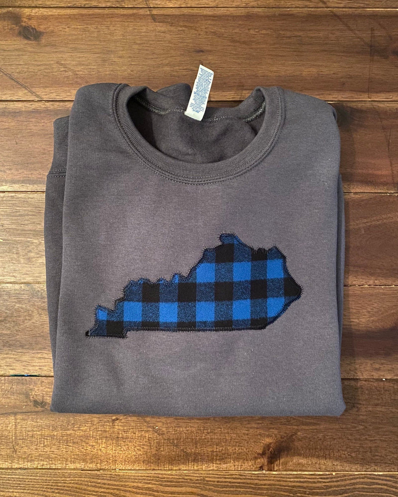 Custom State Pride Outline Embroidered Plaid Applique Sweatshirt  | Kentucky Buffalo Check Monogrammed Pullover | State Outline Sweatshirt