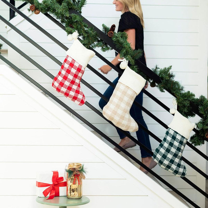 Monogrammed Check Knit Stocking