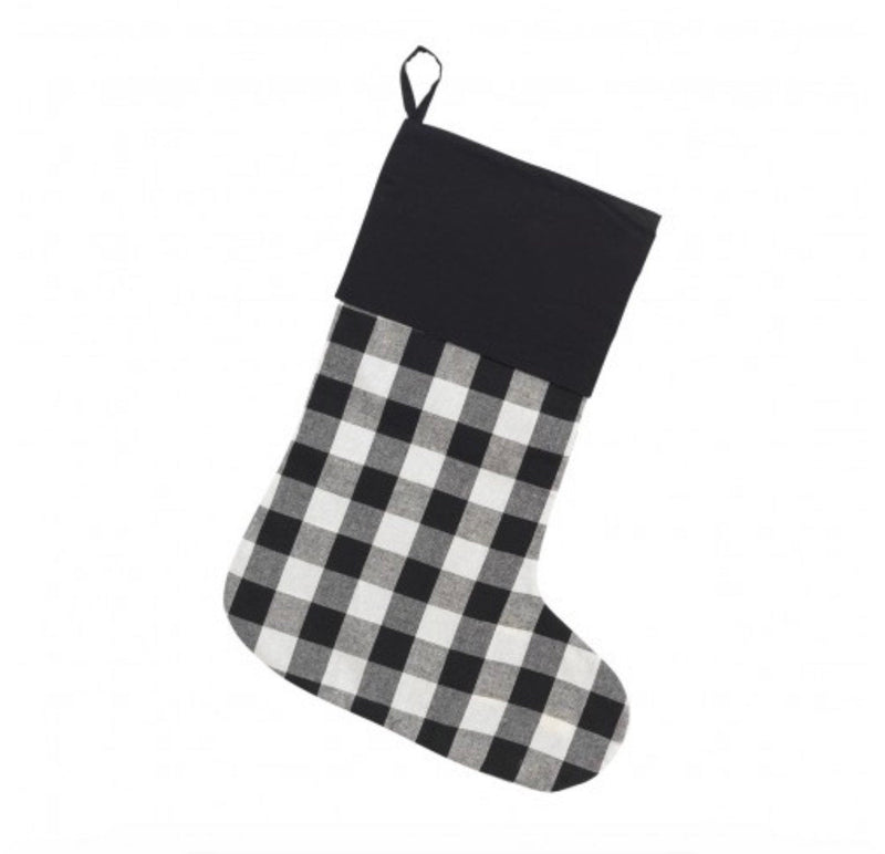 Monogrammed Black Buffalo Check Stocking