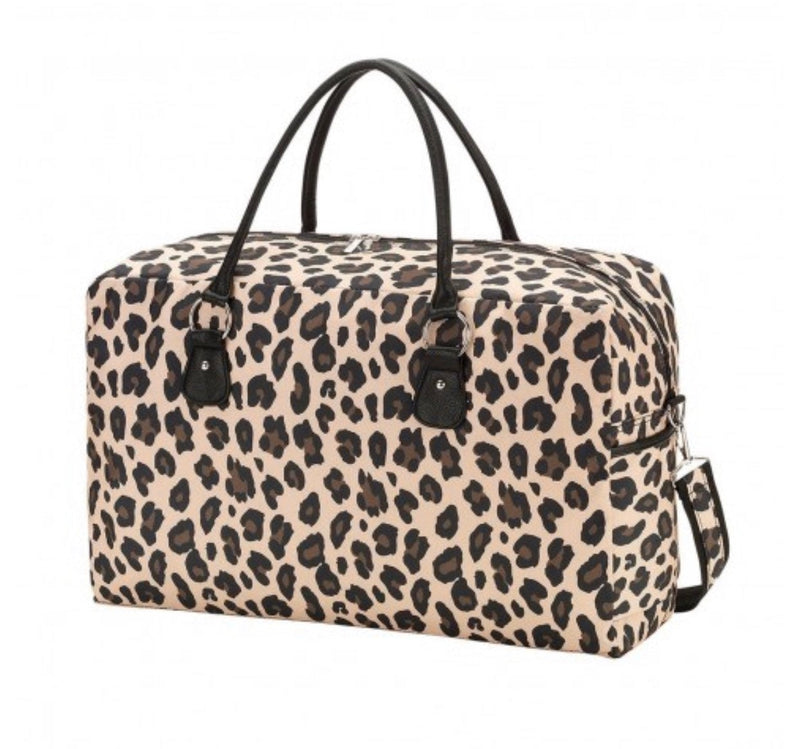 Monogrammed Brown Leopard Weekender Bag | Monogrammed Cheetah Overnight Bag | Personalized Gift | Monogrammed Carry On Luggage