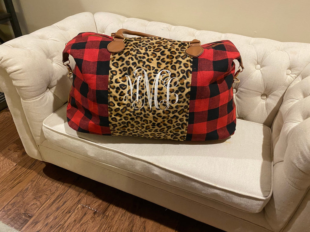 Monogrammed Leopard and Red Buffalo Plaid Weekender