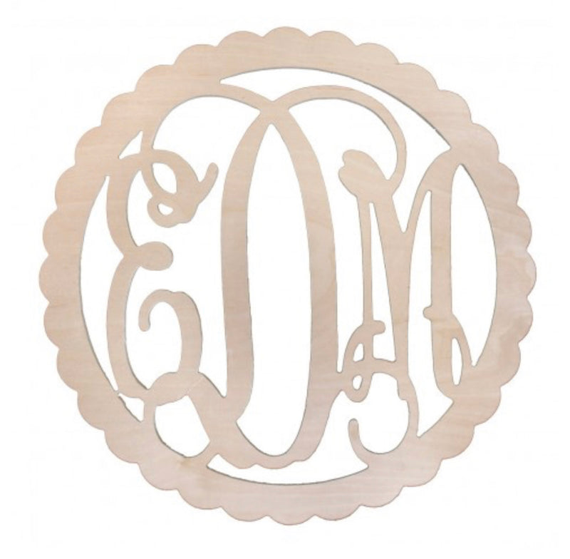 Wooden Scallop Vine Monogram Sign