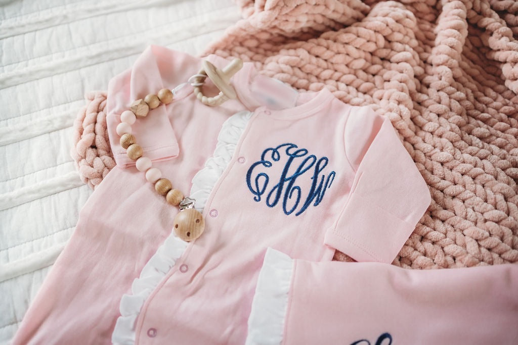 Monogrammed Ruffled Baby Footie Sleeper