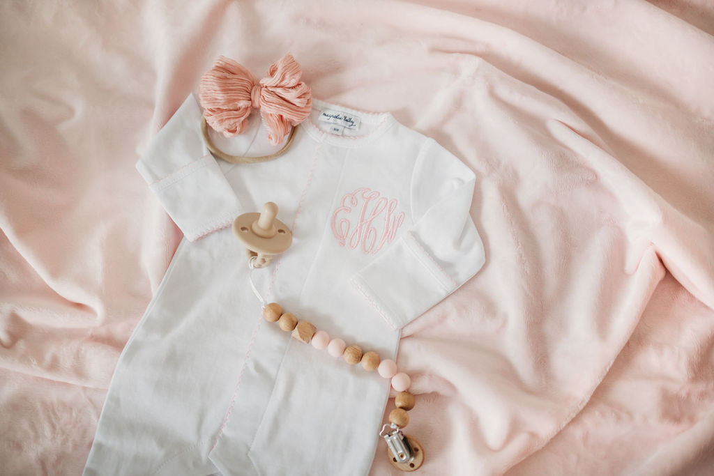 Embroidered Magnolia Baby Girl White w/ Pink Footie Cap Set