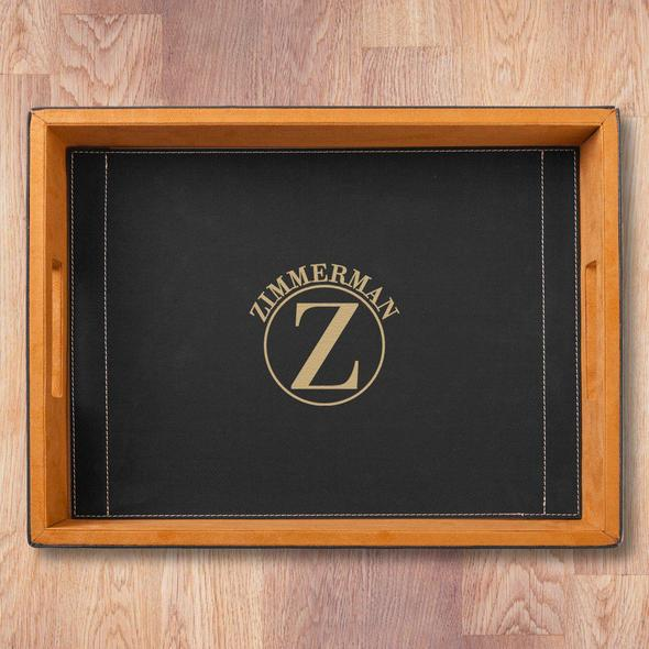Personalized Black Leatherette Serving Tray