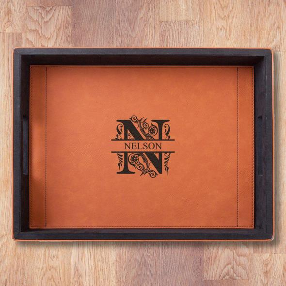 Personalized Rawhide Leatherette Serving Tray