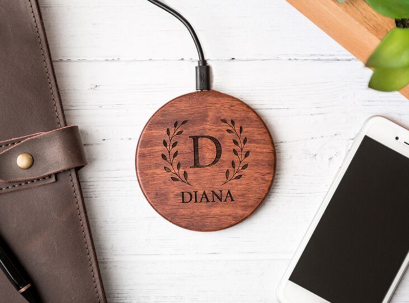 Personalized Wood Wireless Phone Charger