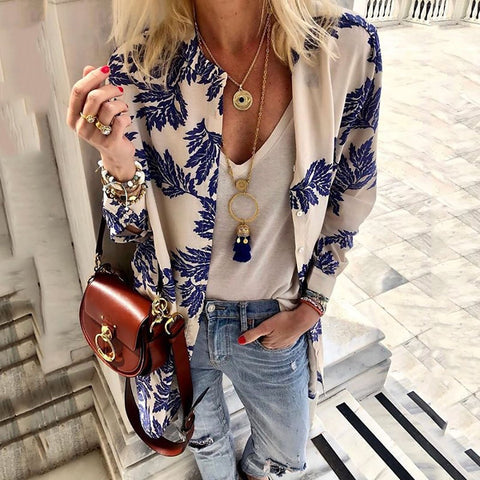 Casual Broken Flower Printing Long-Sleeved Cardigan