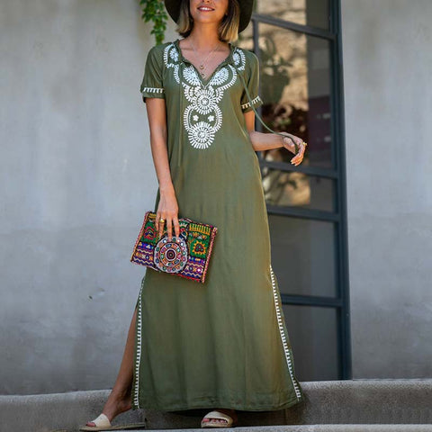 Casual Cotton Green Embroidery Side Slit Short Sleeves Long Dress