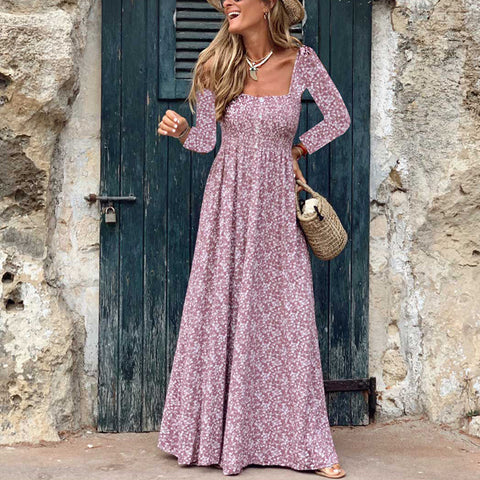 Elegant Retro Squre Neck Floral Pattern Long Sleeves Long Casual Maxi Dress