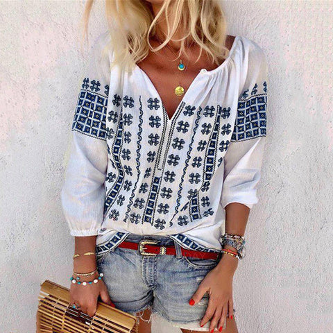 Print Casual Cropped Sleeve Shirt