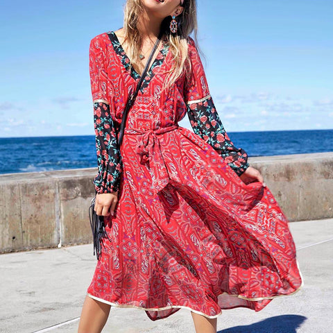 Fashion Casual Printed Long-sleeved Dress