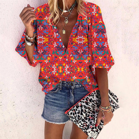 Exotic Bracelet Sleeve Printed Color Single-breasted Blouse