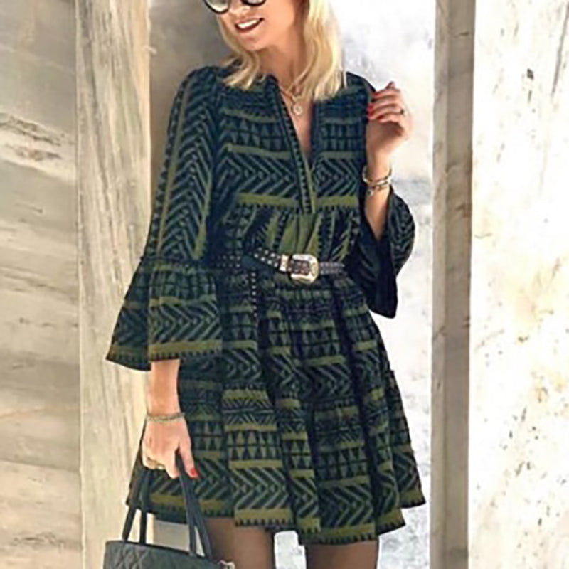 Streetwear V Neck Printed Color Long Sleeve Mini Dress