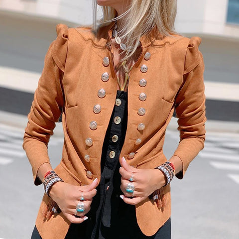 Vintage Solid Color Double-Breasted Stitching Long-Sleeved Cardigan