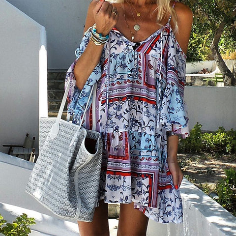 Beach Sling Printed Color Patchwork Mini Dress