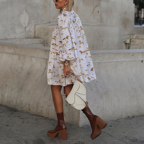 Casual Printed Long Sleeve Trench Coat