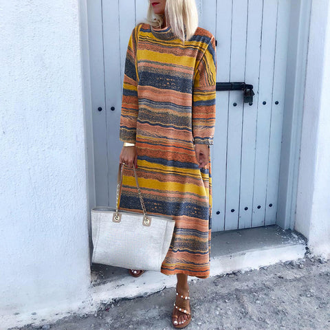Casual Colouring Striped Loose Round Neck Long Dress