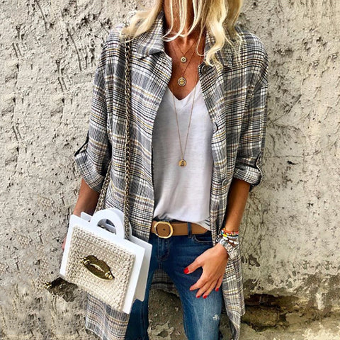 Casual Lapel Single-breasted Loose Classic Plaid Cardigan