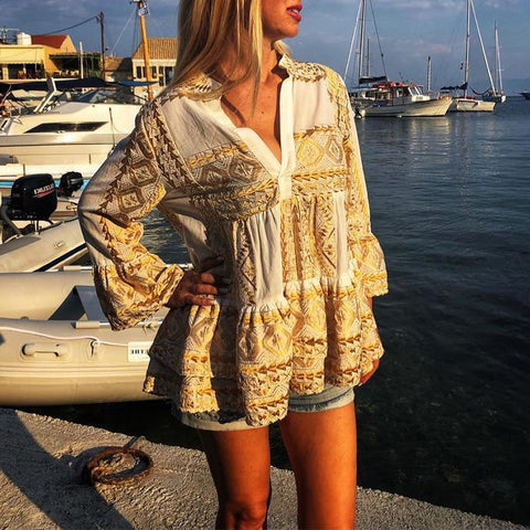 Beach Long Sleeve V Neck Patchwork Blouse