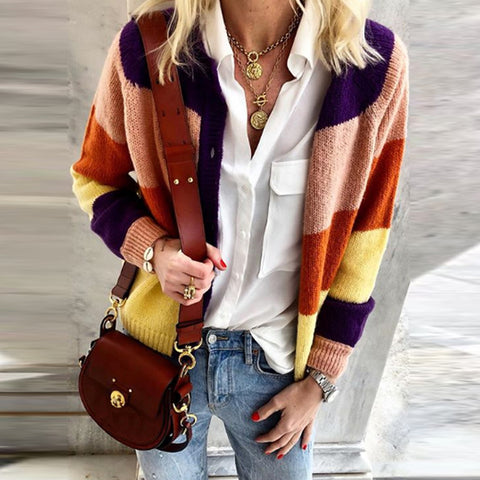 Casual Color Block Stripst Button Knit Cardigan