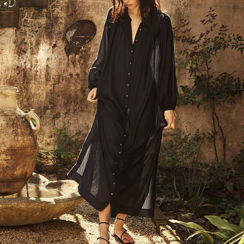 French Vintage Buttoned Long Sleeve Maxi Dress