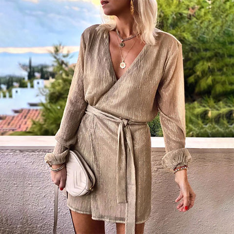 Casual V-neck Solid Color Long Sleeve Dress