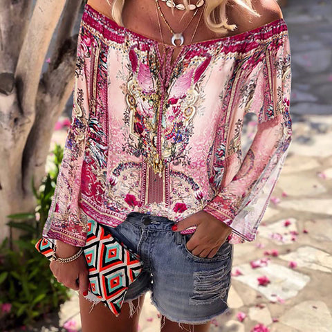 Casual Printed Long Sleeve Off Shoulder Shirt