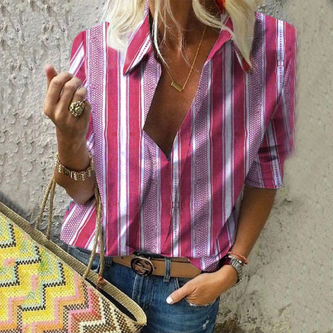 Casual Turndown Collar Middle Sleeve Striped Shirt