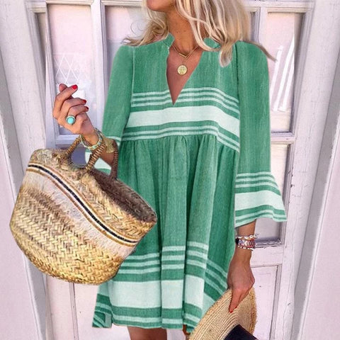 Casual V-neck Solid Color Striped Flare Sleeve Dress