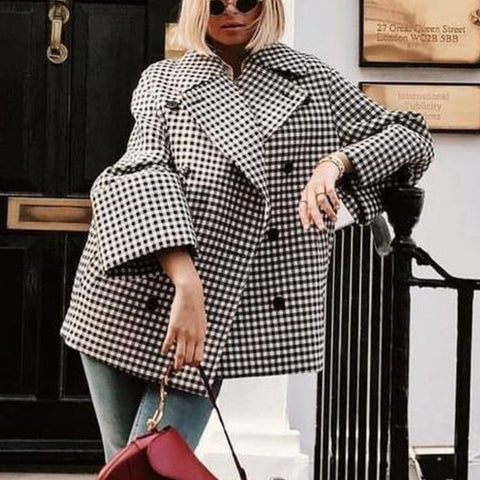 Lapel Long Sleeve Check Black And White Trench Coat