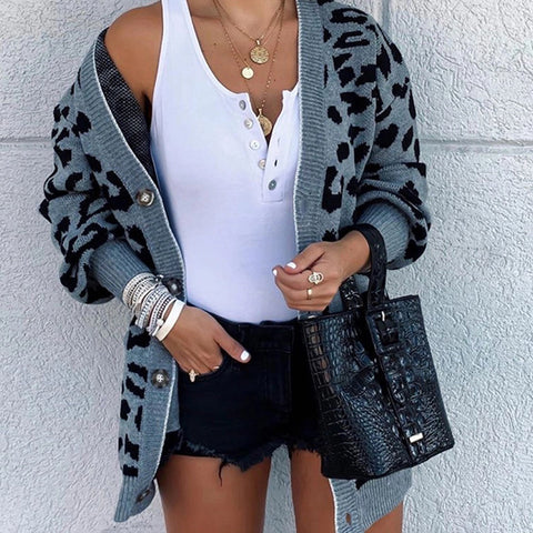Casual Leopard Print Long Puff Sleeves Loose Sweater Cardigan