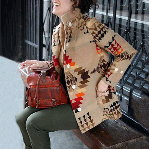 Modern Printed Color Single-breasted Loose Overcoat