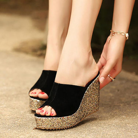 Casual Sequins Wedge Waterproof Platform Sandals