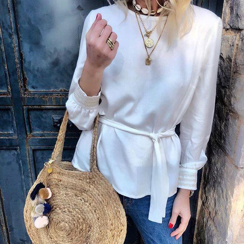 Casual Loose Slim Long   Sleeve Pure Color Blouses
