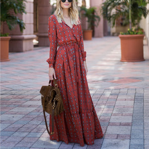 Casual Sexy Deep V   Neck National Style Print Casual Maxi Dresses