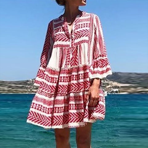 Bohemian Printed Colour Bell Sleeve Pleated Dress