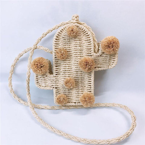 Lovely Cactus Straw Woven Single Shoulder Crossbody Bag