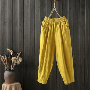 Leisure Pure Color Literary Loose Knickers Pants