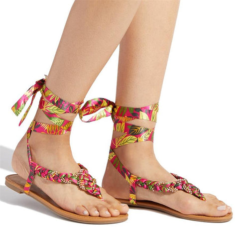 Fashion   Versatile Printed Strap Flat Sandals