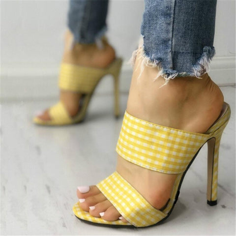 Fashion Versatile Plaid High   Heel Sandals
