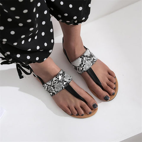 Fashion Vintage Snake Pattern   Toe Flat Sandals