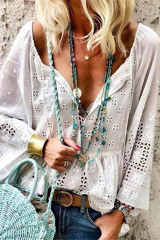 Bohemian V Neck Hollow Out Bell Sleeve See-Through Tops Blouse