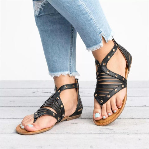 Fashion Wild Retro Toe Flat   Sandals