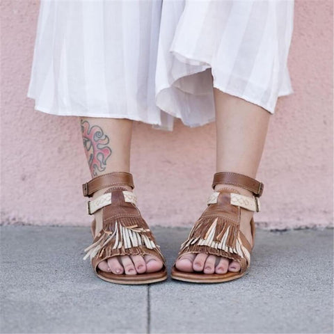 Retro Wild Fringed Back Zip Flat   Sandals
